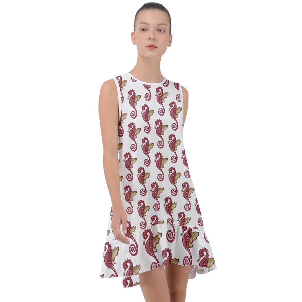 Red Seahorse Pattern Frill Swing Dress