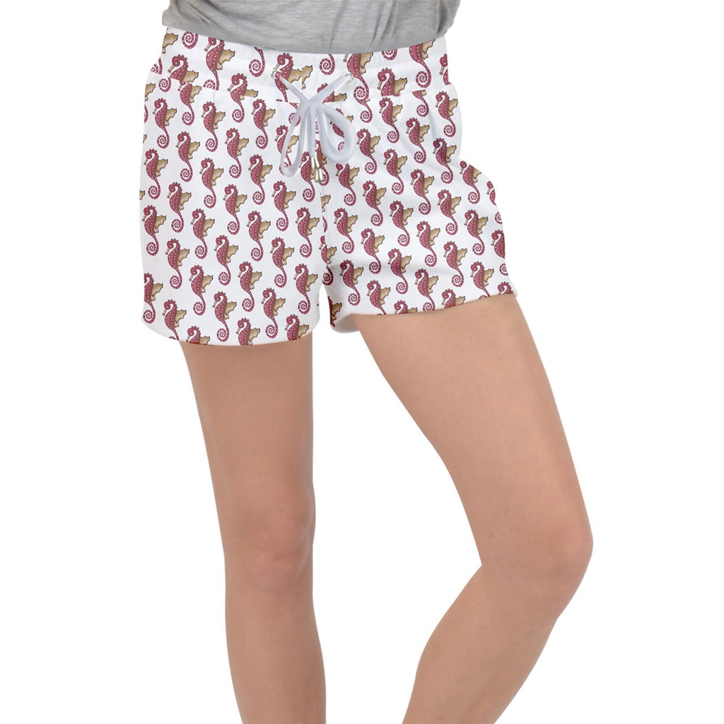 Red Seahorse Pattern Velour Lounge Shorts