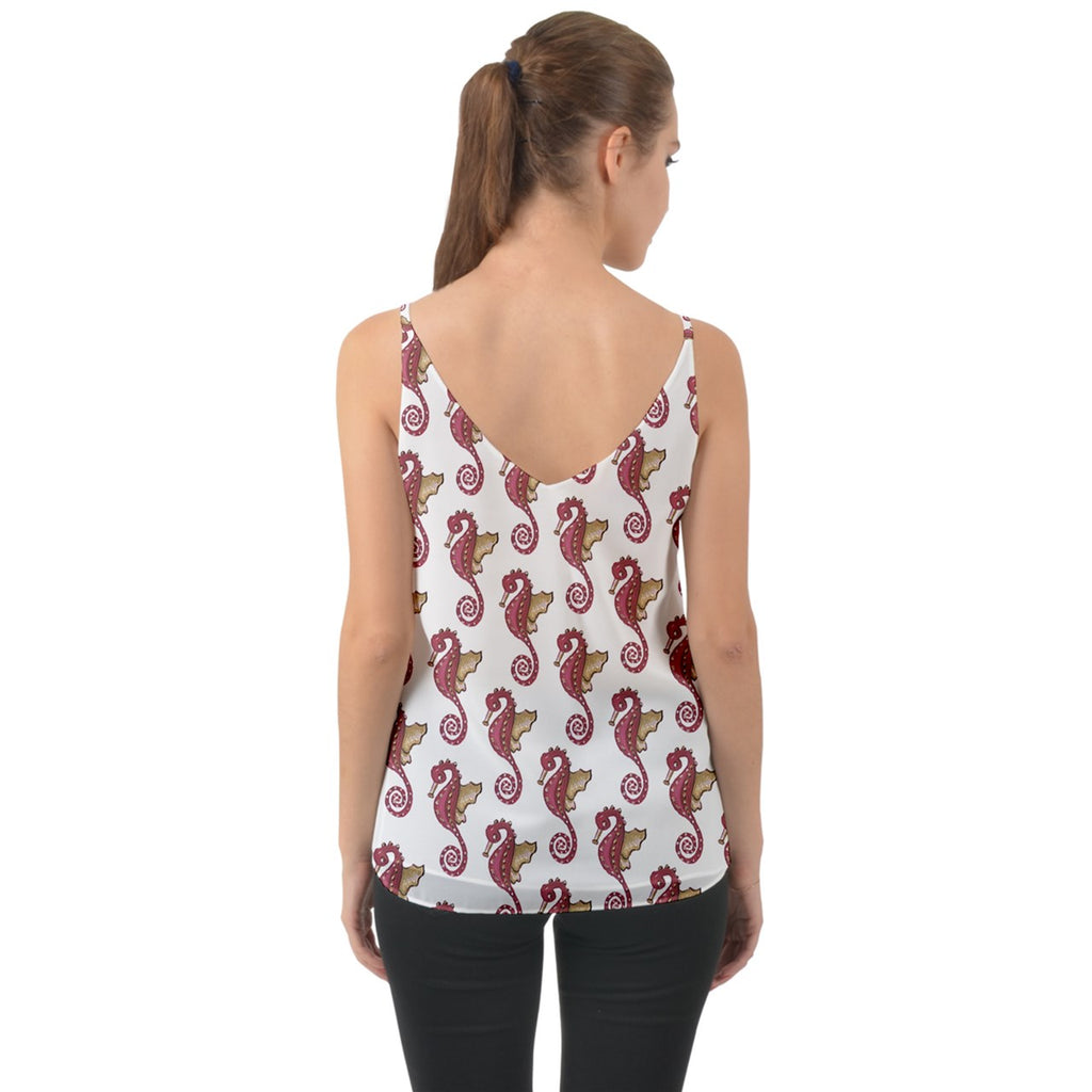 Red Seahorse Pattern Chiffon Camisole