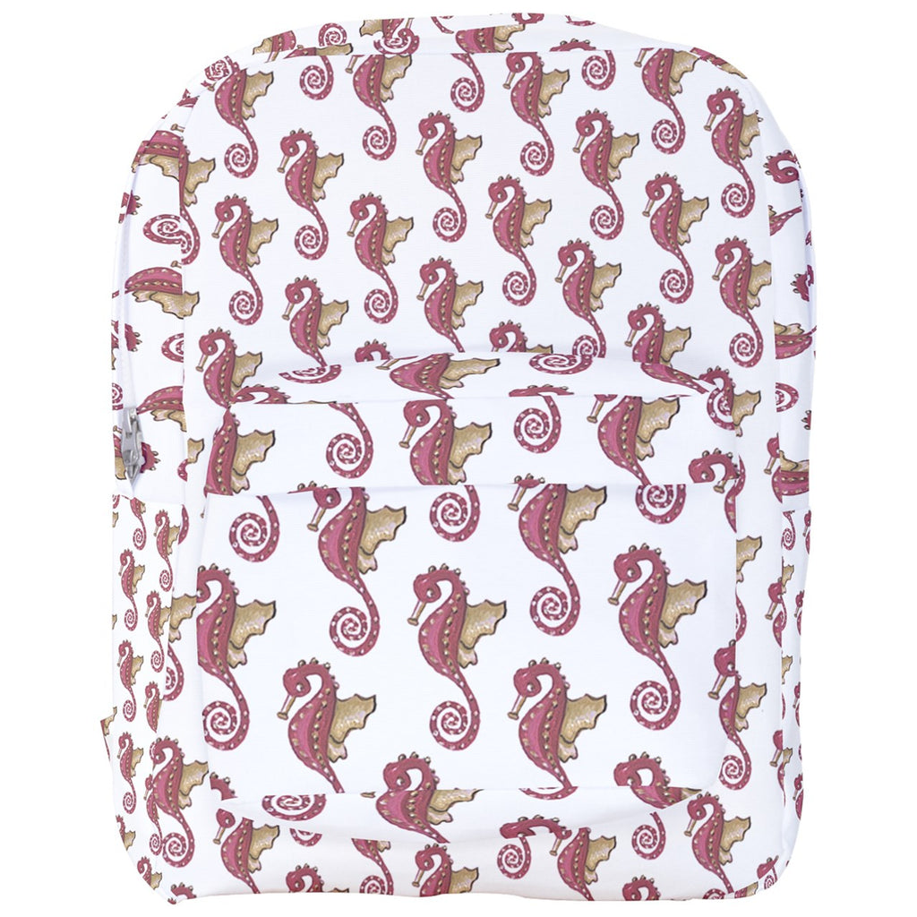 Red Seahorse Pattern Full Print Backpack
