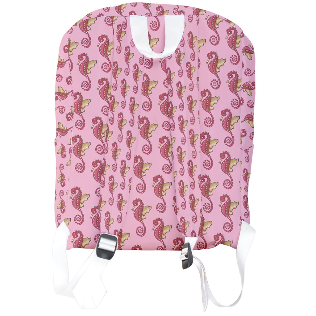 Red Pink Seahorse Pattern Full Print Backpack