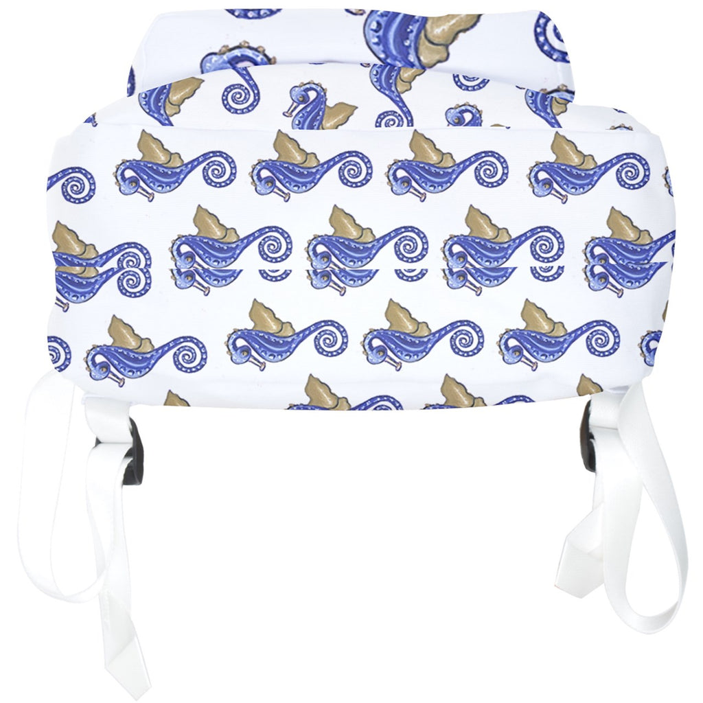 Blue Seahorse Pattern Full Print Backpack