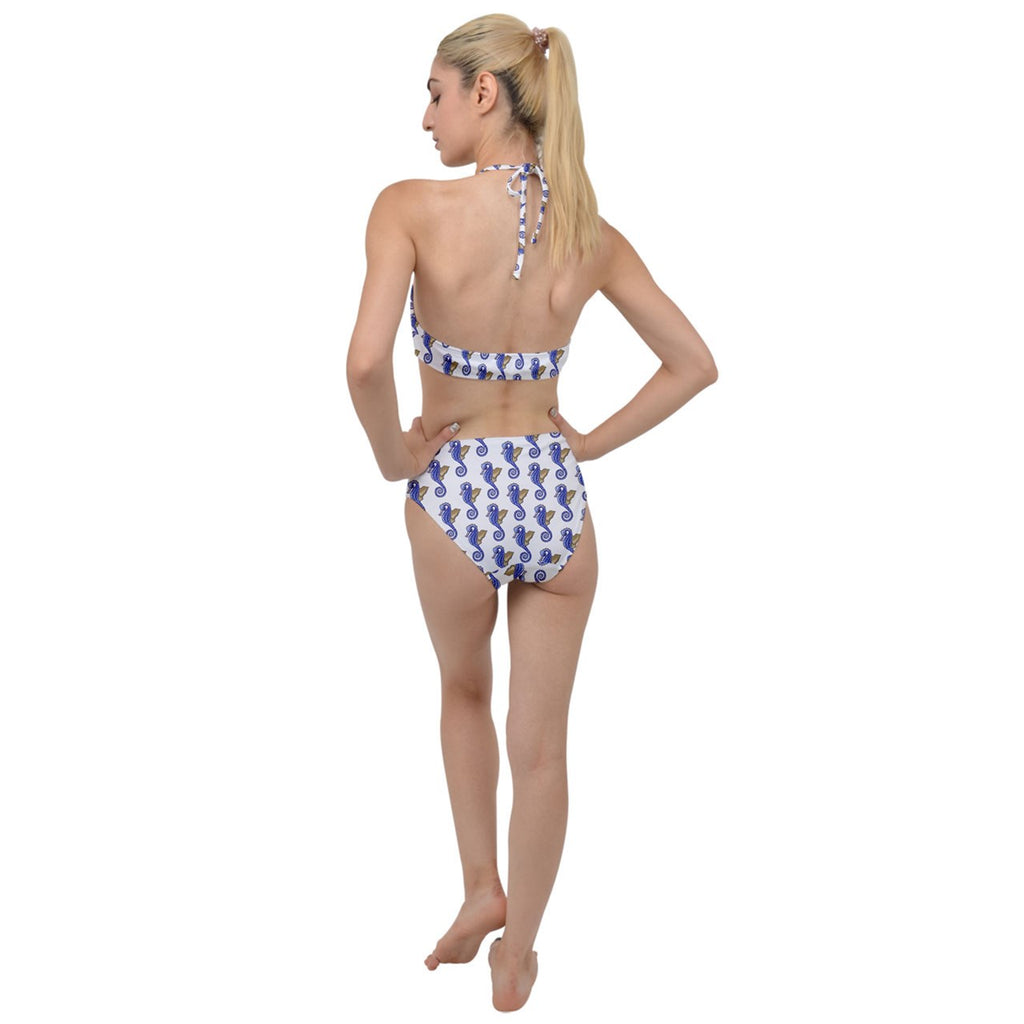 Blue Seahorse Plunging Cut Out Swimsuit