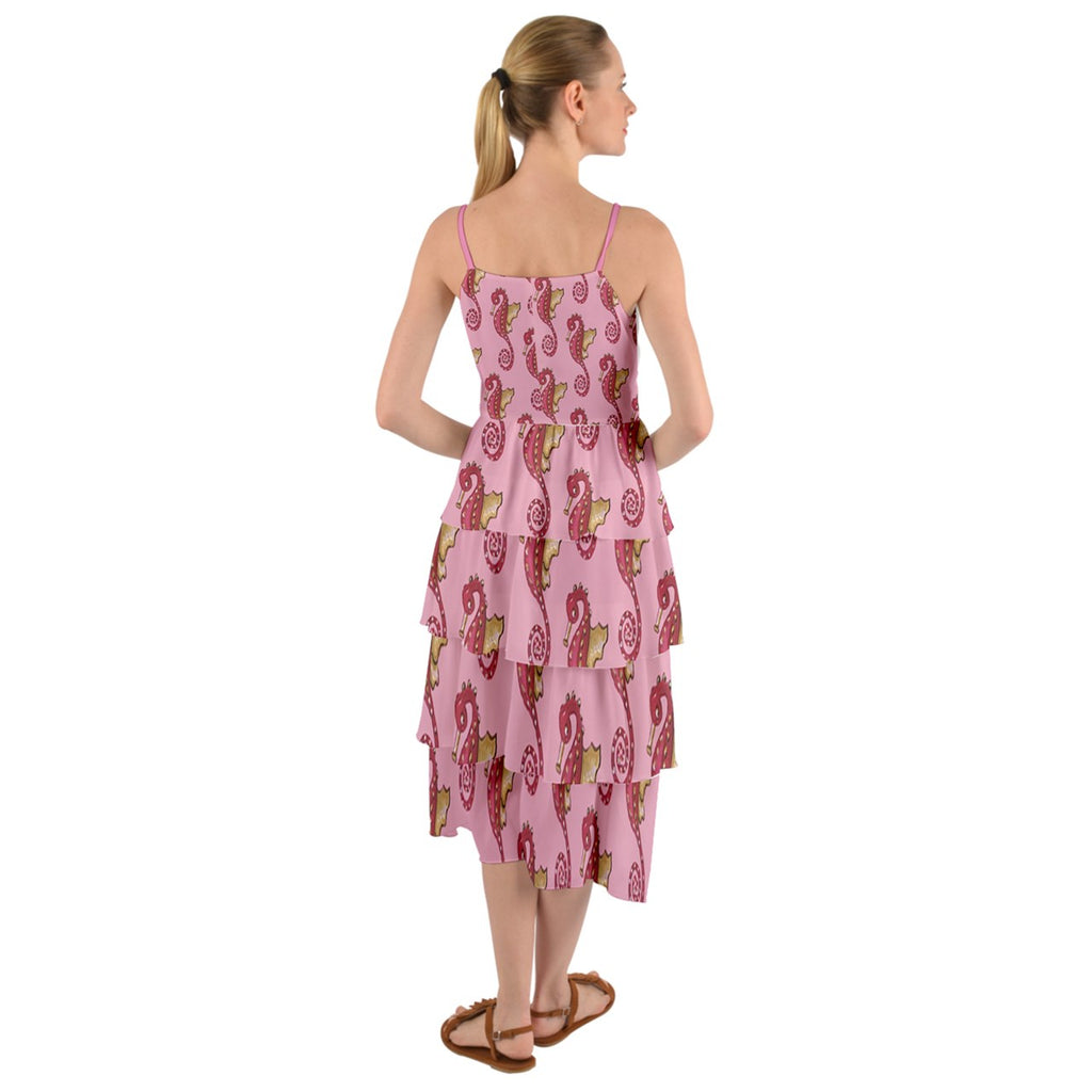 Pink Seahorses Layers Fringe Dress