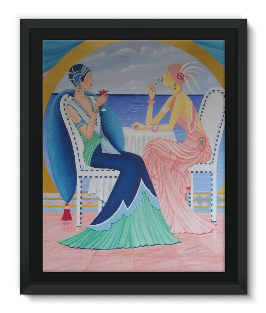 Art Deco Cruising Women Framed Canvas Lite - Sharon Tatem Fashion