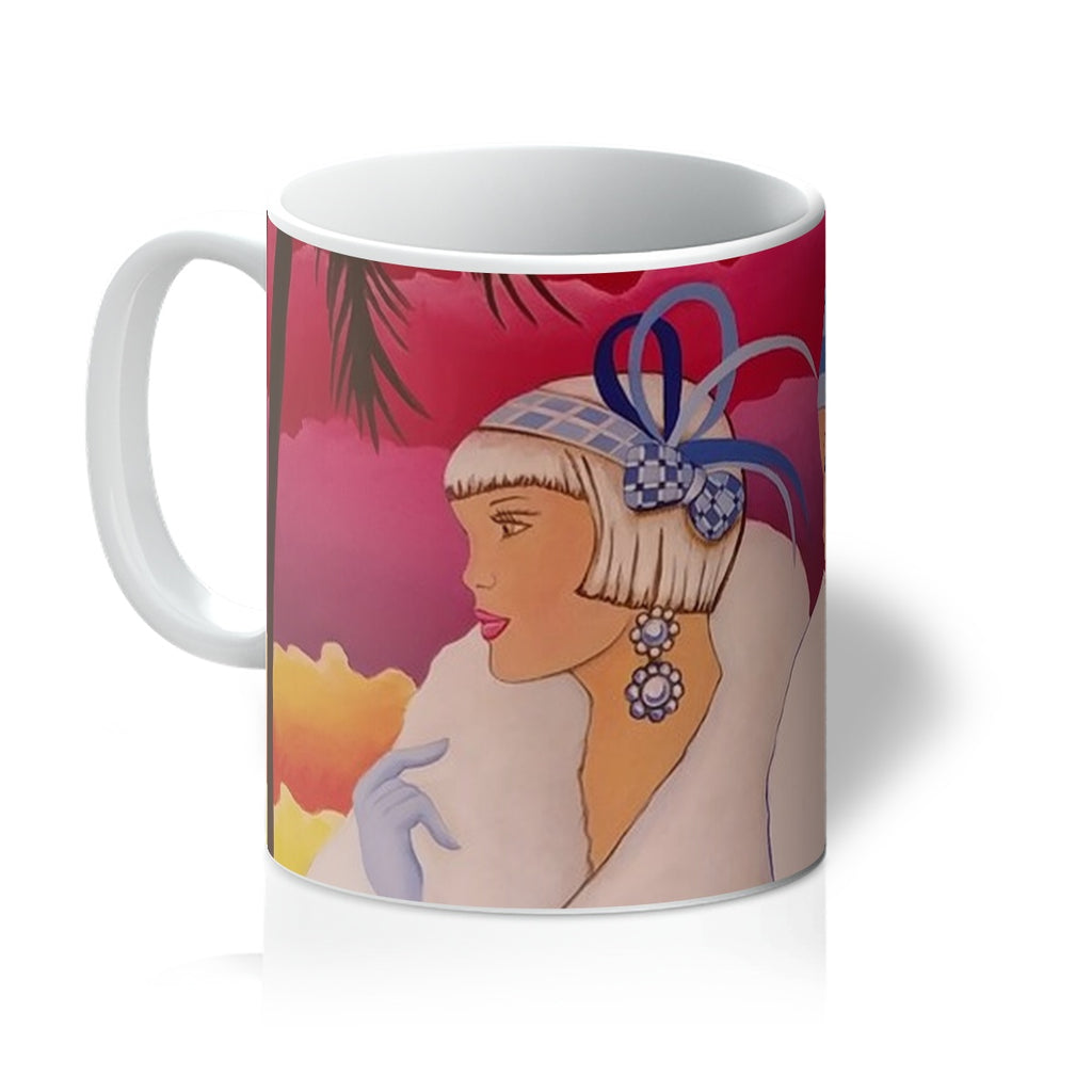 Palm Beach Blue Art Deco Mug - Sharon Tatem Fashion