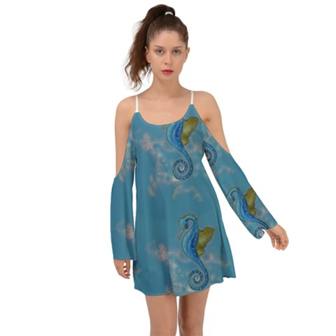 Long Sleeve Blue Seahorses Wing Sleeves Dress - Sharon Tatem Fashion