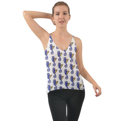 Chiffon Camisole Halter Top Seahorse Pattern - Sharon Tatem Fashion