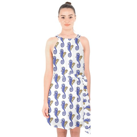 Seahorse Pattern Halter Top Summer Chiffon Dress Waist Tie - Sharon Tatem Fashion