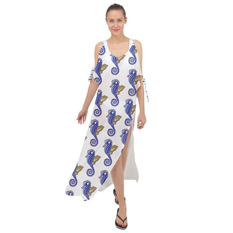 Chiffon Maxi Dress Cover Up Seahorse Pattern - Sharon Tatem Fashion