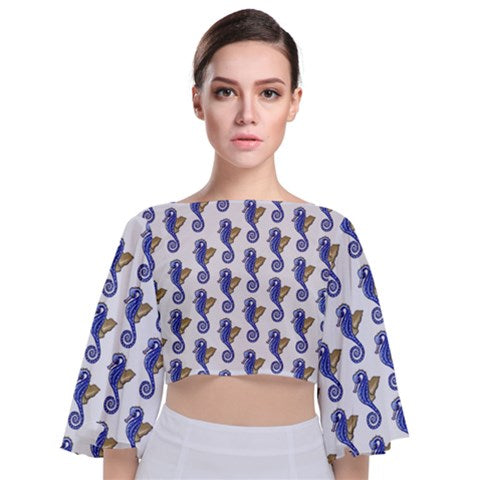Tie Back Butterfly Sleeve Chiffon Top Seahorse Pattern - Sharon Tatem Fashion
