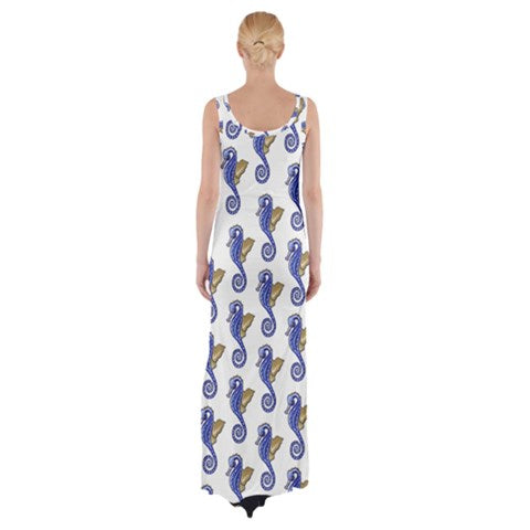 Seahorse Pattern Fitted with Side Slit Cotton Sleeveless Halter Dress - Sharon Tatem Fashions