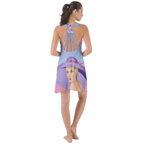 Palm Beach Purple Chiffon Halter Back Strings Dress - Sharon Tatem Fashions