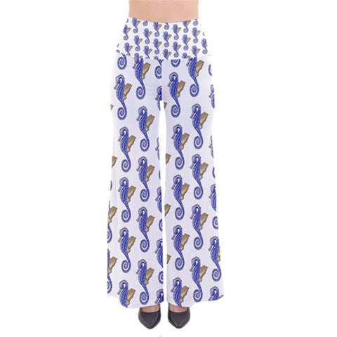 Bell Bottom Cotton Palazzo pants Seahorse Pattern Flare - Sharon Tatem Fashion