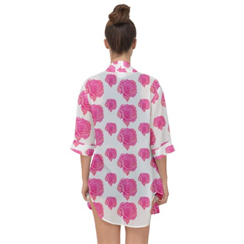 Pink Roses Open Front Chiffon Kimono For Over The Dress - Sharon Tatem Fashion