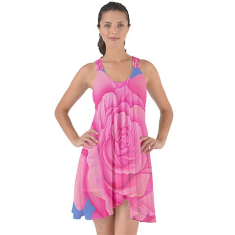 Pink Rose Chiffon Halter Back Strappy - Sharon Tatem Fashions