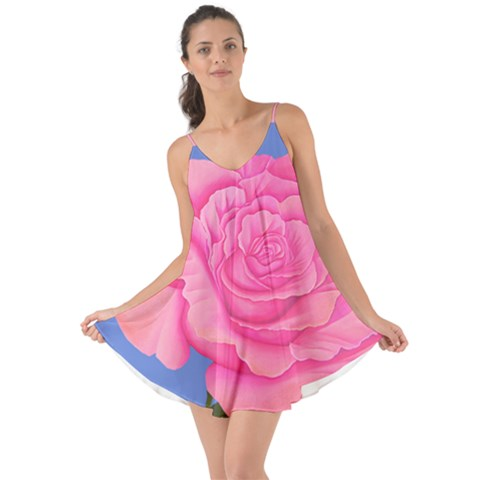 Roses Pink Dress Summer Flounce Halter Chiffon Dress - Sharon Tatem Fashions