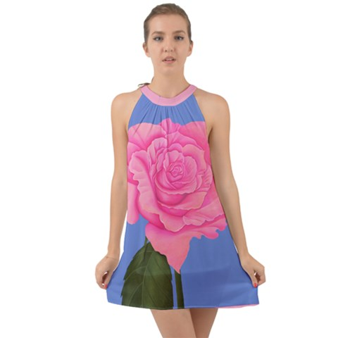Pink Rose Dress Chiffon Halter Dress - Sharon Tatem Fashions