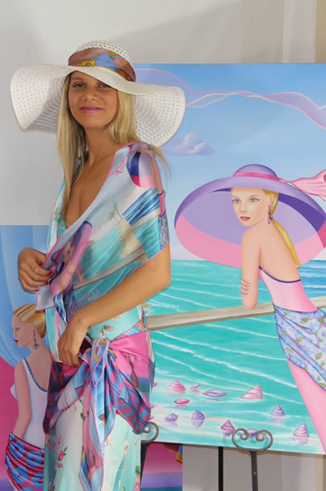 Silk Scarf Palm Beach Purple Long Printed Silk Chiffon Scarf - Sharon Tatem Fashion