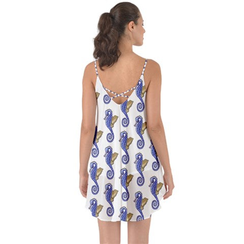 Seahorse Pattern Flare Thin Strap Chiffon Halter Dress - Sharon Tatem Fashion