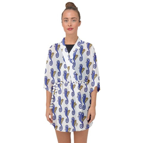 Seahorses Closed Front Chiffon Kimono Can be worn Over The Dress - Sharon Tatem Fashion