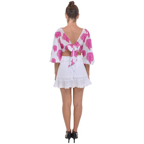 Floral Top Pink Roses on White Chiffon Lovely Open Back Chiffon Tie - Sharon Tatem Fashions