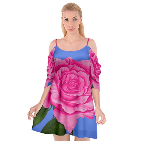 Roses Pink Dress Summer Spaghetti Strap drop Sleeve Chiffon Dress - Sharon Tatem Fashions