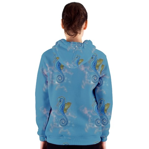 Blue Seahorses Zipper Hoodie - Sharon Tatem Fashion