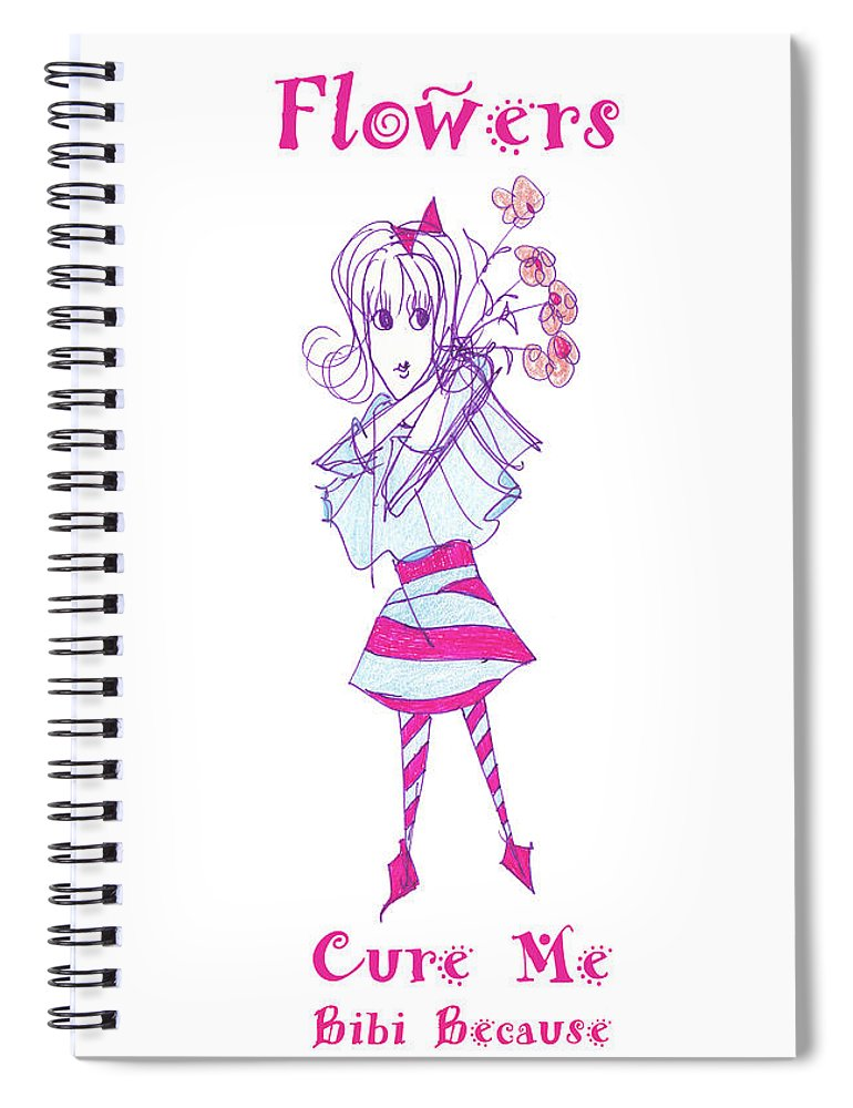 Bibi Because Flowers Cure Me - Spiral Notebook - Sharon Tatem Fashion