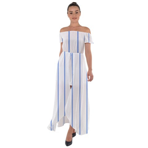 Blue Stripes Off Shoulder Open Front Chiffon Dress