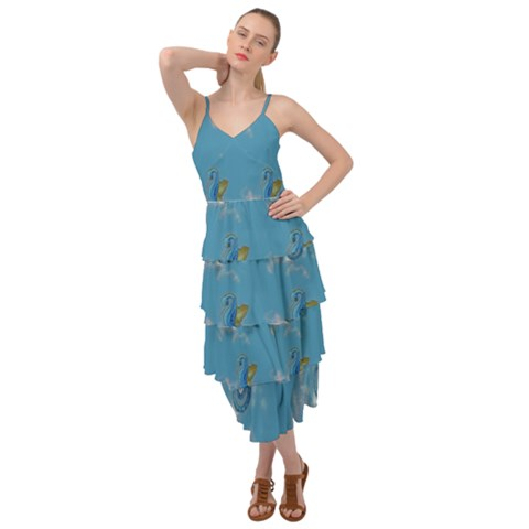 Blue Seahorses Layered Dress - Sharon Tatem Fashion