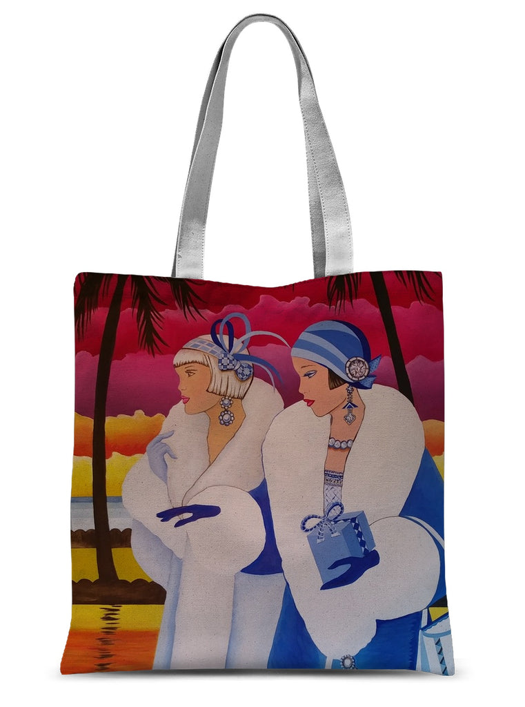 Palm Beach Blue Art Deco Sublimation Tote Bag - Sharon Tatem Fashion