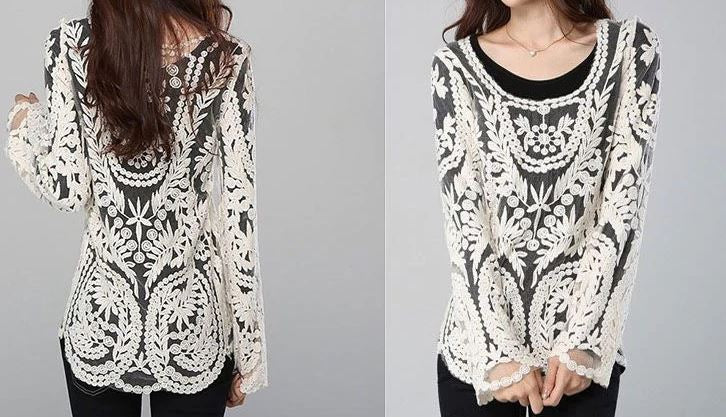Lace Top Crochet Women Blouse Over Tunic Lace Tops