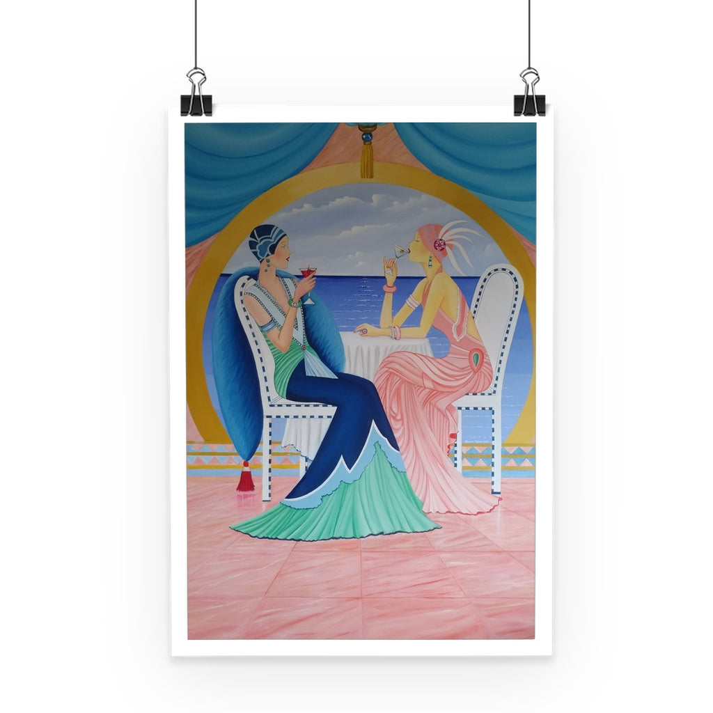 Art Deco Cruising Women Poster - Sharon Tatem Fashion