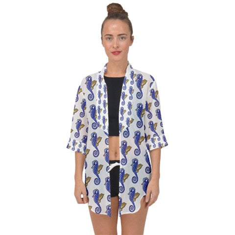 Seahorses Open Front Chiffon Kimono Can be worn Over The Dress - Sharon Tatem Fashion
