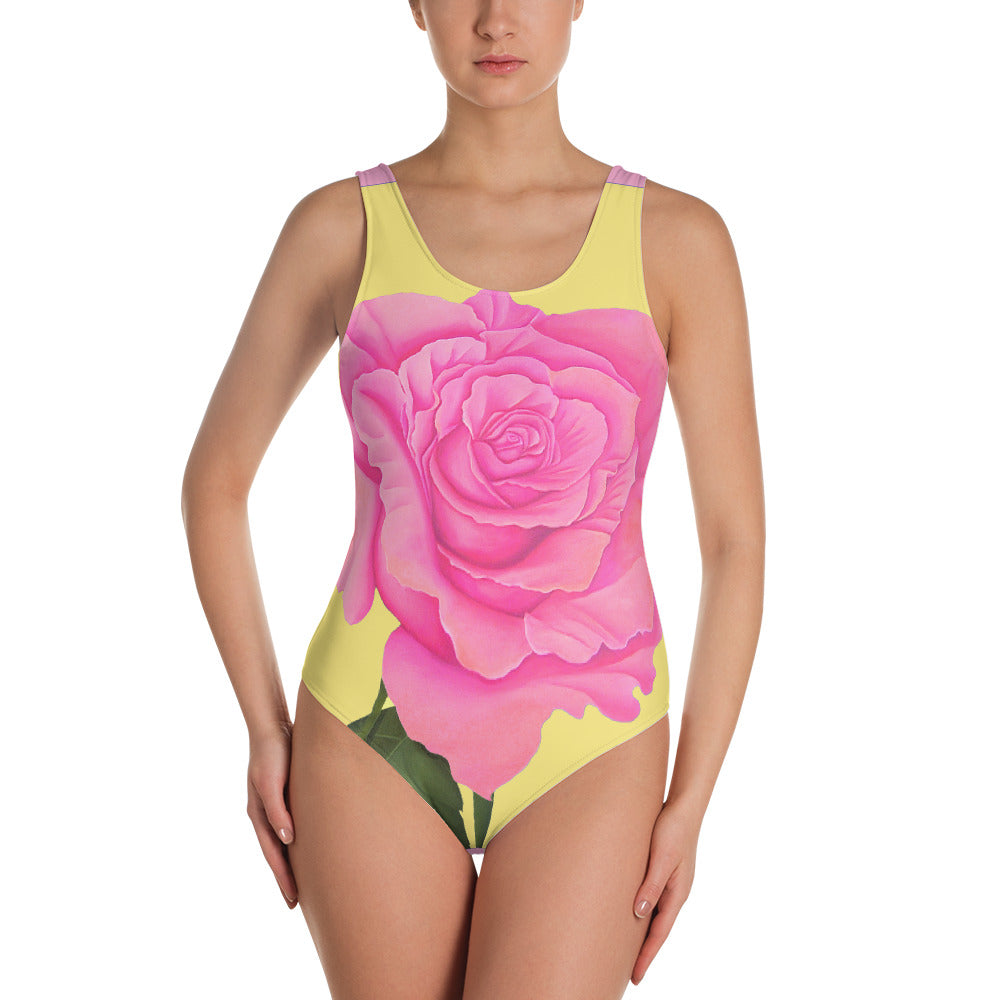 Pink and Yellow Rose One-Piece Swimsuit - Sharon Tatem Fashion