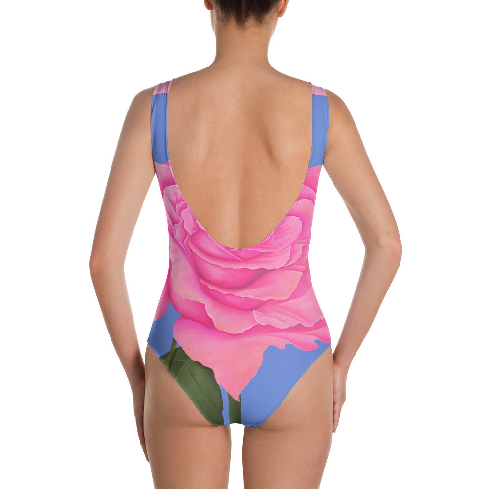 Pink and Blue Rose One-Piece Swimsuit - Sharon Tatem Fashions