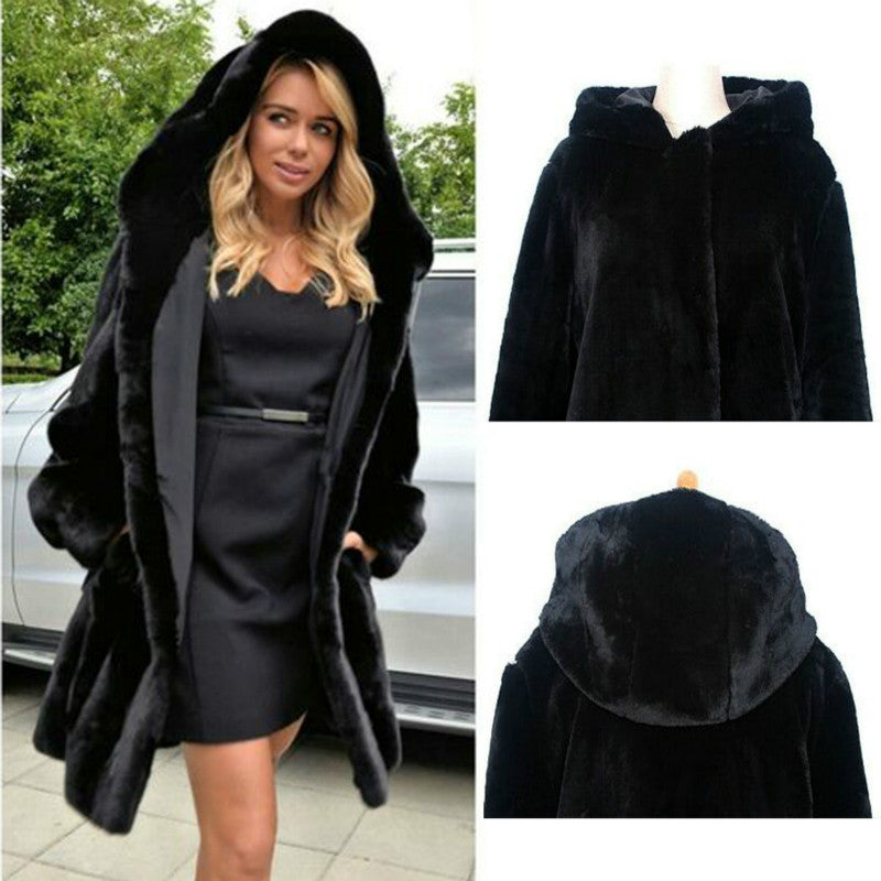Long Black Faux Fur Women's Coat Available Plus Size Plush Coat Warm Fur Jacket