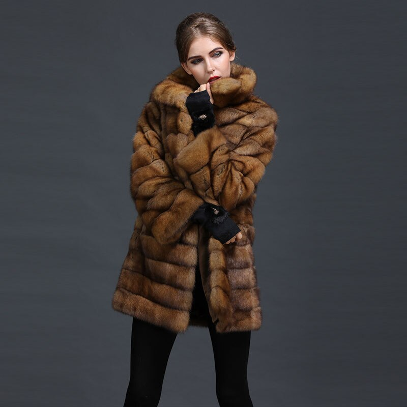 Sable Chinchilla Fur Coat hood Genuine Luxury Fur Coat