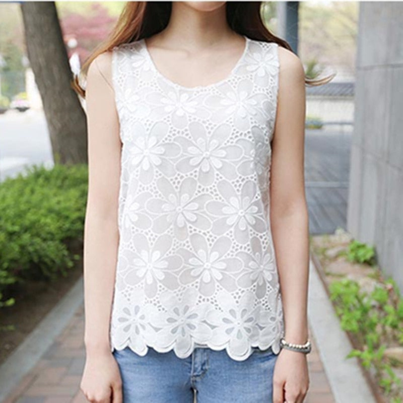 White Lace Blouse Sleeveless Crochet Lace Tops Flower Plus Sizes