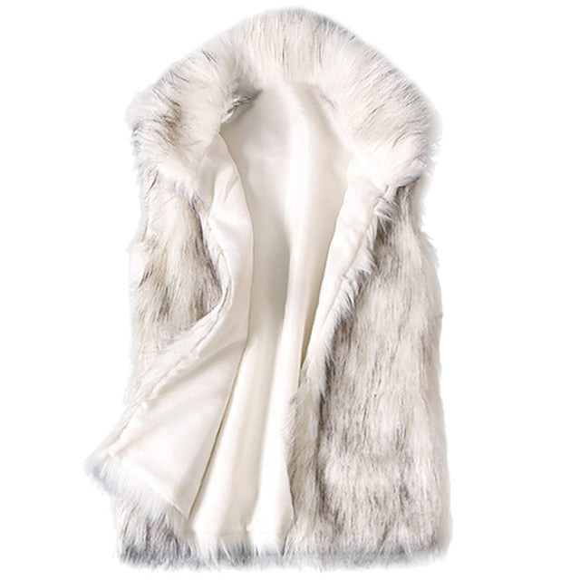 Faux Fur Vest Standing Collar Faux Fur Coat