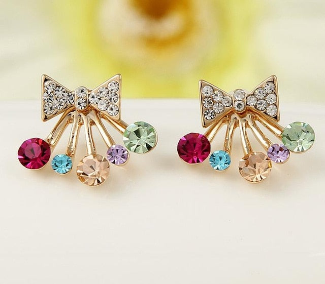 Earrings Fine Jewelry Gold Colorful Crystal Bowknot Star