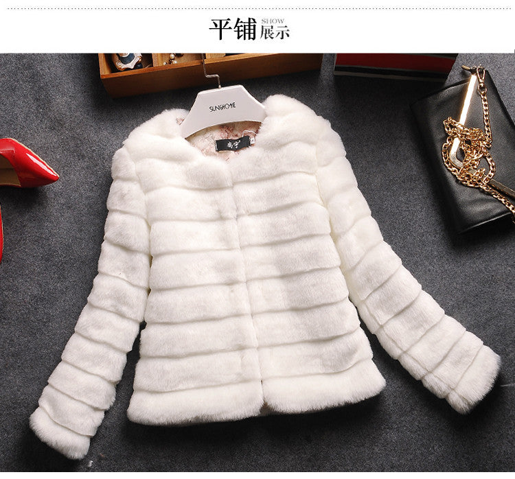 Womens Faux Fur Coat Jacket White Black Plus Sizes