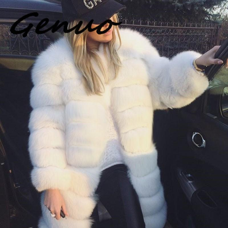 Luxury Faux Fox Fur Coat Slim Long White Faux Plus Sizes