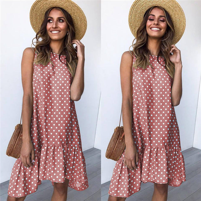 Dress Sexy Boho Beach Sundress Women Floral Printed Polka Dot