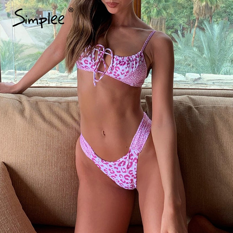 Pink polka dot black polka dot leopard print woman swimsuit Leopard print bikini animal printed bikini set High cut Hollow Out bathing suit