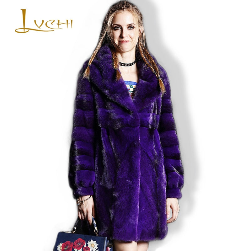 Purple Mink Coats Mink Long Fur Velvet Cross