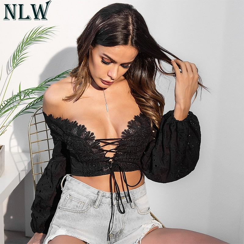White Lace Top | Off Shoulder | Women Lace Up Shirt