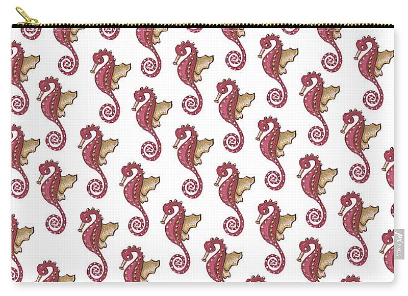 Red and White Seahorse Carry-All Pouch