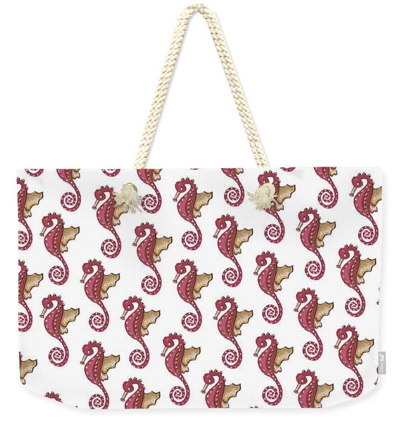 Red and White Seahorse - Weekender Tote Bag
